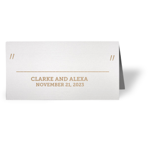 Escort your guests to their seats in style with a shimmery place card. Stick with this Stardream Lavendar paper and Shiny Champagne foil or choose your own colors to create the perfect complement to your wedding tablescape.