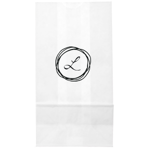 Our beautiful custom White Party Bag with Matte Black Foil has a Circle Doodle Frame graphic and is good for use in Frames themed parties and will give your party the personalized touch every host desires.