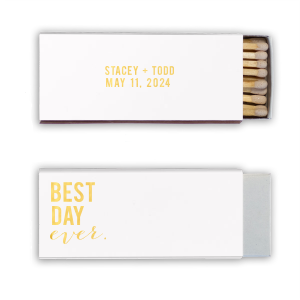 The ever-popular Natural Frost White Classic Matchbox with Shiny 18 Kt Gold Foil can be customized to complement every last detail of your party.