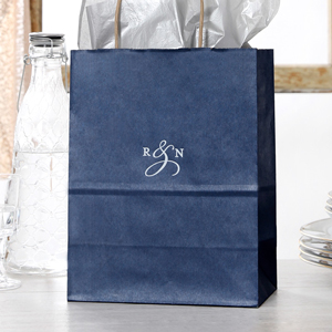 Our Custom Metallic Blue Gift Bag With Satin 18 Kt Gold Foil Can Be Personalized