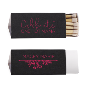 The ever-popular Natural Black Classic Matchbox with Matte Fuchsia Foil Color has a Garden Flourish clip art and is good for use in Garden themed parties and are a must-have for your next event—whatever the celebration!