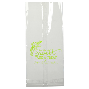 Our personalized Shiny Kiwi / Lime Large Cellophane Bag with Shiny Kiwi / Lime Foil has a Rustic Floral Accent graphic and is good for use in Wedding and Floral themed parties and are a must-have for your next event—whatever the celebration!