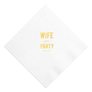 Celebrate her bachelorette with this custom White napkin that will be a fabulous addition to the event! Personalize it with the bride's name for a bar and finger food detail she'll love.