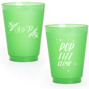 ForYourParty's elegant Matte Moss Green Ink 16 oz Frost Flex Cup with Matte Moss Green Ink Print Color has a Rustic Leaf Accent graphic and is good for use in Accents themed parties and will make your guests swoon. Personalize your party's theme today.