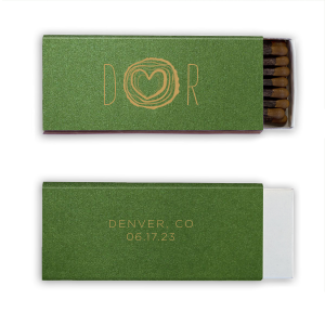 Pair your initials with our Tree Heart graphic for a seamless detail in your forest or greenery theme. Add the location and date for a personal touch to your destination wedding. Include your custom matches in wedding welcome bags or give out as personalized wedding favors.