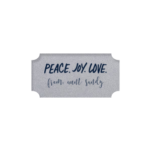 Our custom Stardream Silver Rectangle Label with Matte Navy Ink Color has a Peace Joy Love graphic and is good for use in Words, Christmas themed parties and can be personalized to match your party's exact theme and tempo.