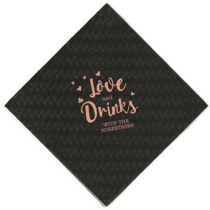 Our beautiful custom Hunter Green Cocktail Napkin with Shiny Rose Gold Foil will look fabulous with your unique touch. Your guests will agree!