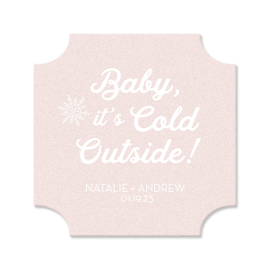 Custom Blush with Kraft back Nouveau Coaster with Matte White Foil has a Snowflake graphic and is good for use in Winter, Holiday themed parties and will add that special attention to detail that cannot be overlooked.