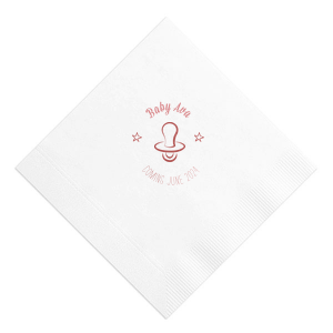 Our personalized RECYCLED White Cocktail Napkin with Shiny Lavender Foil Color has a Pacifier graphic and is good for use in Baby Shower themed parties and will give your party the personalized touch every host desires.