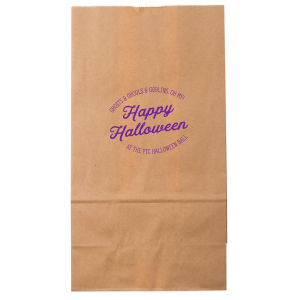 Our personalized Bright Orange Goodie Bag with Matte Amethyst Foil can be personalized to match your party's exact theme and tempo.