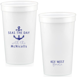 Our custom Powder Blue 16 oz Stadium Cup with Matte Cobalt Ink Cup Ink Colors has a Anchor Frame graphic and is good for use in Travel, Beach/Nautical, Father's Day themed parties and will impress guests like no other. Make this party unforgettable.