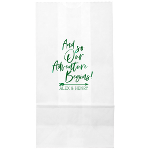 ForYourParty's personalized White Party Bag with Shiny Green Tea Foil has a Arrow graphic and a And So Our Adventure Begins slogan, perfect for use in Wedding and Shower themed parties and couldn't be more perfect. It's time to show off your impeccable taste.