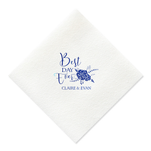 ForYourParty's personalized Navy Linen Like Cocktail Napkin with Matte White Foil Color has a Floral Vine RSVP graphic and is good for use in Lovely Press themed parties and are a must-have for your next event—whatever the celebration!