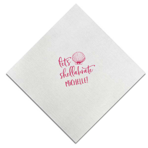Our custom Teal Cocktail Napkin with Matte Pastel Pink Foil has a Shell 1 graphic and is good for use in Beach/Nautical themed parties and will impress guests like no other. Make this party unforgettable.