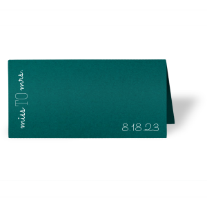 Personalized Poptone Teal/Peacock Euro Place Card with Matte White Foil will add that special attention to detail that cannot be overlooked.