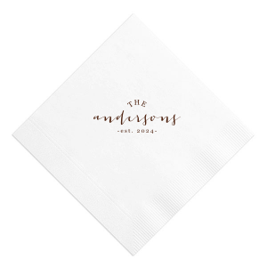 "ForYourParyt's personalized ""Family Established"" custom cocktail napkin couldn't be more perfect. It's time to show off your impeccable taste with your own custom cocktail napkins."