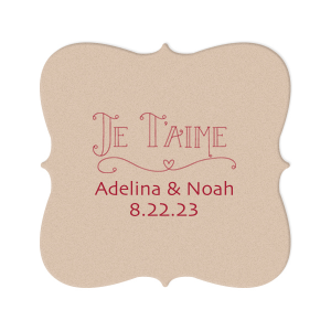 The ever-popular Eggshell Square Coaster with Matte Lipstick Red Foil Color has a Je Taime graphic and is good for use in Words themed parties and will look fabulous with your unique touch. Your guests will agree!