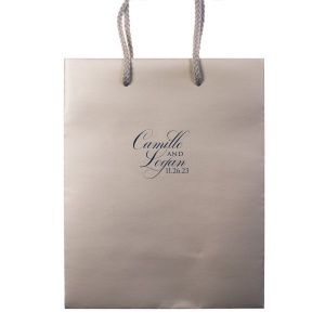 Our personalized Taupe Gift Bag with Matte Navy Foil will make your guests swoon. Personalize your party's theme today.