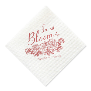 Custom Mimosa/Yellow Cocktail Napkin with Shiny Rose Quartz Foil has a Butterfly Rose Bunch graphic and is good for use in Spring, Easter, Wedding, Bridal Shower and Baby Shower themed parties and can be customized to complement every last detail of your party.