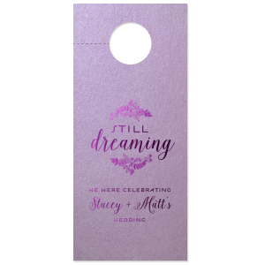 Our custom Stardream Lavender Door Hanger with Shiny Amethyst Foil Color has a Rustic Floral Frame 2 graphic and is good for use in Frames themed parties and can be personalized to match your party's exact theme and tempo.