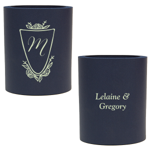 Our personalized Navy Slim Can Cooler with Matte Mint Ink Cup Ink Colors has a Crest Rose graphic and is good for use in Frames, Floral, Wedding themed parties and can be customized to complement every last detail of your party.