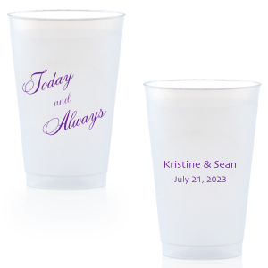 ForYourParty's chic Matte Grape Soda Ink 9 oz Frost Flex Cup with Matte Grape Soda Ink Cup Ink Colors can be customized to complement every last detail of your party.