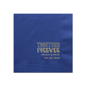 Add the perfect touch to your bar, dessert table or appetizers with this Aqua and Gold personalized napkin. Pair your names and date with our Together Forever graphic and share your love with every taste.