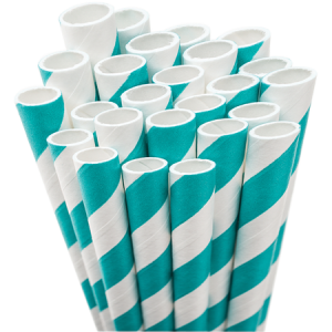Custom Teal Stripe Striped Straw can be personalized to match your party's exact theme and tempo.