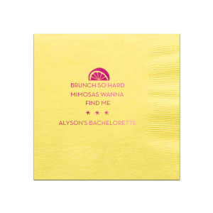 The ever-popular Mimosa/Yellow Cocktail Napkin with Shiny Fuchsia Foil Color has a Lemon Wedge graphic and is good for use in Food, Drinks themed parties and will look fabulous with your unique touch. Your guests will agree!