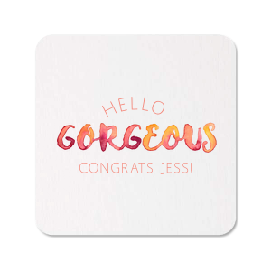 Our personalized White Photo/Full Color Square Coaster with Matte Light Coral Ink Digital Print Colors can be personalized to match your party's exact theme and tempo.