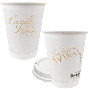 ForYourParty's chic 12 oz Paper Coffee Cup with Lid with Gold Ink can be customized to complement every last detail of your party.