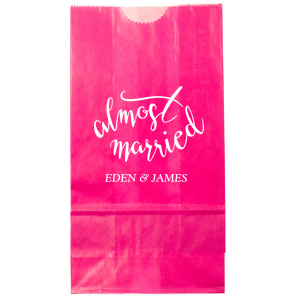 Our custom Hot Pink Party Bag with Matte White Foil has a Almost Married 2 graphic and is good for use in Words, Bridal Shower themed parties and will impress guests like no other. Make this party unforgettable.