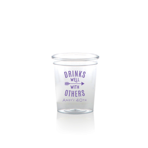Personalized Plastic Shot Glass with Matte Grape Soda Ink Cup Ink Colors has an Arrow graphic and is good for use in Frames themed parties and will look fabulous with your unique touch. Your guests will agree!