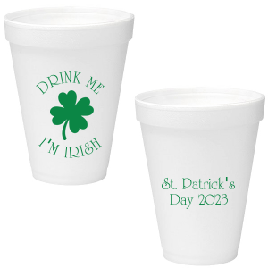 Our custom Matte Leaf Ink 16 oz Styrofoam Cup with Matte Leaf Ink Cup Ink Colors has a Four Leaf Clover graphic and is good for use in Holiday, St. Patricks Day themed parties and can't be beat. Showcase your style in every detail of your party's theme!