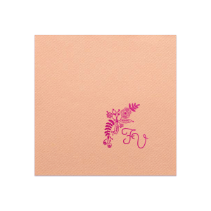Our personalized Peach Cocktail Napkin with Shiny Fuchsia Foil has a Rustic Floral Accent 2 graphic and is good for use in Accents, Wedding, Anniversary themed parties and will add that special attention to detail that cannot be overlooked.