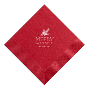 Our custom Convertible Red Cocktail Napkin with Matte White Foil Color has a Pine graphic and is good for use in Floral, Outdoors, Organic themed parties and will make your guests swoon. Personalize your party's theme today.