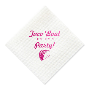 ForYourParty's elegant Watercolor Sunrise Cocktail Napkin with Shiny Fuchsia Foil has a Taco graphic and is good for use in Food themed parties and will make your guests swoon. Personalize your party's theme today.