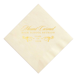 ForYourParty's chic Ivory Cocktail Napkin with Satin 18 Kt. Gold Foil Color has a Decorative Flourish graphic and is good for use at High School Reunions and are a must-have for your next event—whatever the celebration!