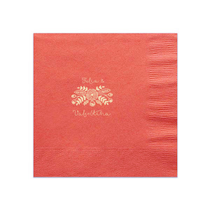 ForYourParty's personalized Coral Cocktail Napkin with Matte Ivory Foil has a Rustic Floral Accent and ilovely addition to Wedding, Anniversary and floral themed parties and will add that special attention to detail that cannot be overlooked.