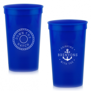 ForYourParty's chic Navy 16 oz Stadium Cup with Matte White Ink Cup Ink Colors has a Dotted Frame 1 graphic and a Anchor Frame graphic and is good for use in Travel, Beach/Nautical, Father's Day themed parties and can be personalized to match your party's exact theme and tempo.