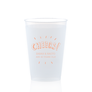 Our custom 14 oz Frost Flex Cup with Matte Light Coral Ink has a Cheers graphic and is good for use in for Drinks, Birthdays and other fun parties. Showcase your style in every detail of your party's theme!