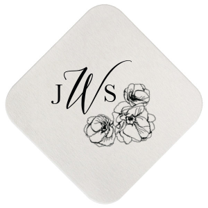 Our custom Kraft w/ Blush back Hexagon Coaster with Matte Black Foil has a Flower Trio graphic and is good for use in Floral, Wedding, Birthday themed parties and can be customized to complement every last detail of your party.