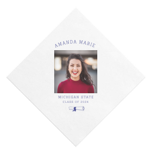 The ever-popular White Borderless Photo/Full Color Cocktail Napkin with Matte Cobalt Ink Digital Print Colors has a Graduation Scroll graphic and is good for use in Graduation themed parties and will look fabulous with your unique touch. Your guests will agree!