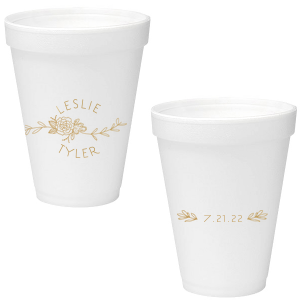 Our custom Gold Ink 16 oz Styrofoam Cup with Gold Ink Cup Ink Colors has a Peony Flourish 2 graphic and a HandWreathRSVP graphic and is good for use in Lovely Press themed parties and can be customized to complement every last detail of your party.