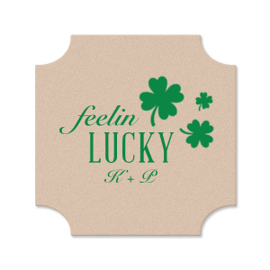 ForYourParty's personalized Eggshell Square Coaster with Matte Spruce Foil has a Clovers graphic and is good for use in St. Patricks Day, Holiday themed parties and can't be beat. Showcase your style in every detail of your party's theme!