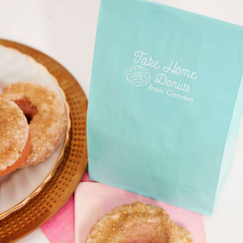 glitter donuts in custom party bags for graduation favors
