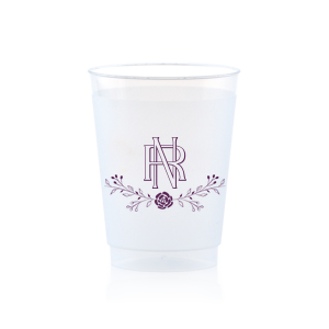 Custom Matte Eggplant Ink 9 oz Frost Flex Cup with Matte Eggplant Ink Cup Ink Colors has a Floral Vine graphic and intertwined initials is good for use in elegant and Floral themed parties and are a must-have for your next event—whatever the celebration!