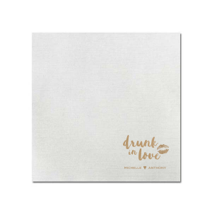 Our beautiful custom Ivory Cocktail Napkin with Shiny 18 Kt Gold Foil has a smooch graphic and is good for use in Birthday, Fashion, Wedding themed parties and will make your guests swoon. Personalize your party's theme today.