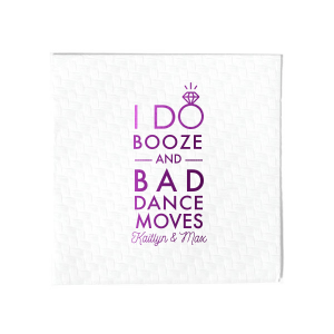 ForYourParty's chic Lavender Cocktail Napkin with Shiny Amethyst Foil has a I Do Ring graphic and is good for use in Words, Wedding themed parties and will make your guests swoon. Personalize your party's theme today.