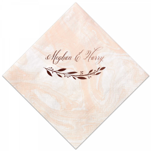 Our custom Marble Blush Cocktail Napkin with Shiny Merlot Foil has a myrtle reminiscent graphic to be styled as the perfect cocktail napkin for your royal wedding themed party. Stock up on Prince Harry and Meghan Markle's wedding style to impress guests like never before! Make this party unforgettable.